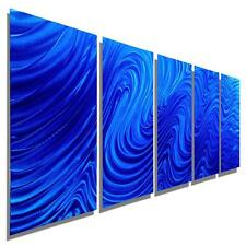 Large Blue Contemporary Painting Abstract Metal Wall Art Sculpture - Jon Allen
