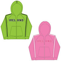 Ladies Embroidered Ireland Graphic Fitted Hoodie - Cotton Full Zip Irish Top