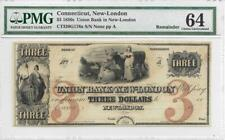 1850's Connecticut, New-London $3 Union Bank CT320G176a - PMG 64