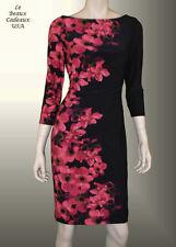 LAUREN RALPH LAUREN Women Size 10 BLACK Floral Knee Length Dressy NWT$134