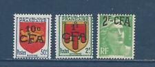 """REUNION - 283 - 285 - MH - 1950 - """"CFA"""" + NEW VALUE ON FRANCE STAMPS"""