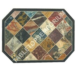 "18""x24"" Marble Coffee Center Table Top Multi Mosaic Inlay Restaurant Decor E936"