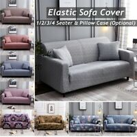 1/2/3/4 Seater Easy Stretch Sofa Slipcover Protector Couch Pillow Chair Cover D