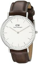 Daniel Wellington Mens Watch Classic Bristol White DarkBrown Leather 0209dw