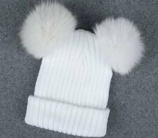 Women's Winter Beanie Outdoor Chunky Knit with Double Fur Pom Pom Cute Hat