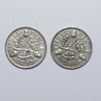 1932 & 1934, Threepence Great Britain Silver a Lot of 2 High Value Coins