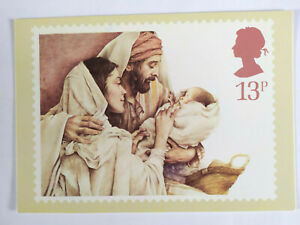 Christmas Holy Family Post Office Picture Postcard 1984 Unused