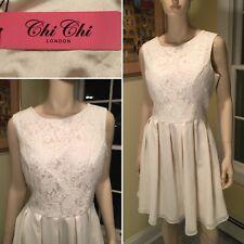 New w/ Tags CHI CHI London Cream White Sleeveless Above-Knee Dress Size 14/XL