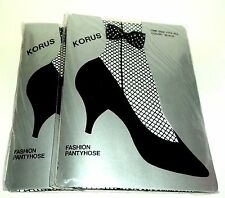 """2  KORUS BLACK Fishnet Pantyhose With Ankle Bow Fits: 5'-5'8"""" & 100-165 lbs."""