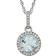 Diamante & AGUAMARINA piedra de nacimiento Collar en 14k ORO BLANCO (1/10 ct.