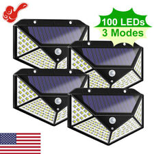 100 LED Solar Power PIR Motion Sensor Waterproof Wall Light Outdoor Garden Lamp^