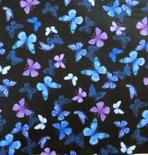 ~1/2 Yard ~Small Butterflies On Black by Timeless Treasures, 100% Cotton Fabric