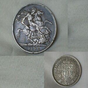 2x Antique Coins 1892 Queen Victoria Silver Crown Coin & 1893 Half Crown. 42gm.
