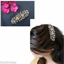 Diamante Flower Barrette Hair clip Grip Antiqued Silver Tone for Bridal Prom