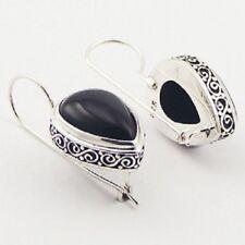 Silver hook earrings 925 Ajoure sterling black agate gemstone Handmade pear cut