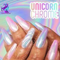 UNICORN CHROME White Mirror Effect Powder Nail Art Mermaid Rainbow AB Crystal um