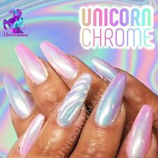 UNICORN CHROME White Mirror Effect Powder Nail Art Mermaid Rainbow AB Crystal um