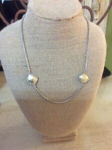 """Konstantino Two Tone Station Box Chain 17.5"""" Necklace Toggle 18K/Sterling"""