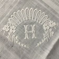 Mouchoir Ancien BRODERIE Monogramme H Antique French Handkerchief Embroidery