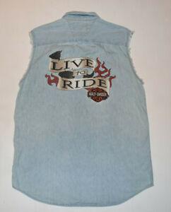 Vintage Harley-Davidson Men Sleeveless Denim Metal Button Front Shirt Large B21