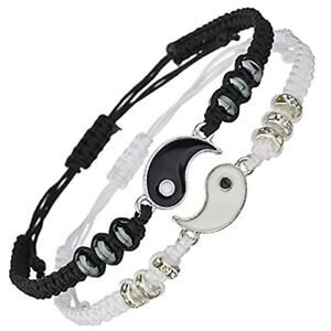 Couple Bracelets Gift for Matching Yin Yang Adjustable Woven Cord Bracelet Gifts