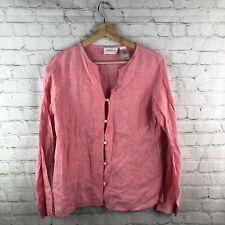 b01c8a921fa Liz Claiborne Small 100% Linen Shirt Top Button Down Long Sleeve Women s