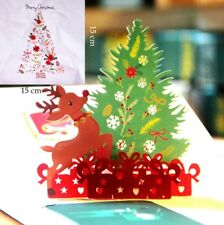 3D Pop Up Card Christmas Tree Deer Hot Holiday Merry Christmas Greeting Cards