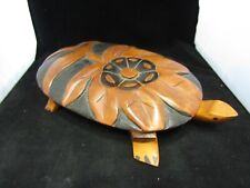 Vintage Large Hand Craved and Painted Wood Art Turtle- With Lid ~12.5� x 2.75�