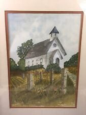Vtg original watercolor painting signed Church Landscape By Myrkie Stevens '79