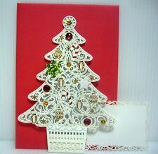 Sanrio Laser-Cut Pop-Up X'mas Greeting Card - White Bling X'mas Tree #9790924