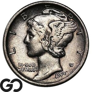 1921 Mercury Dime, Tough This Nice, Choice XF++/AU Key Date