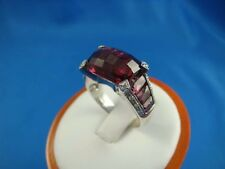 "18K WHITE GOLD ""EXOTICA"" BY GADI RHODOLITE GARNET AND DIAMOND RING 8.2 GRAMS"