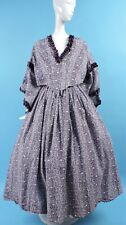 XL SIZE CIVIL WAR 19TH C STYLE FLORAL CALICO REENACTOR COSTUME DRESS W PAGODA SL