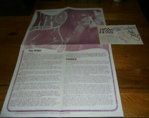 THE WHO TOMMY PROMOTIONAL POSTER FLYER AND SIGNED WHO POSTCARD