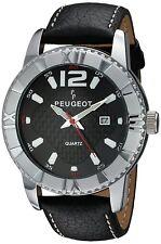 Peugeot Men's Steel Case Carbon Fiber Dial Leather Band Racing Watch 2037S