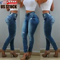 Women's Casual Ripped Jeans Denim Pencil Pants Ladies High Waist Skinny Trousers