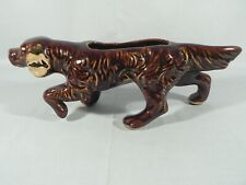 Dog Planter Pointer Setter Spaniel Ceramic Gold Accents