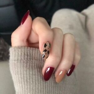 Wine Red Glitter Leopard Fake Nails French Long Oval Artificial Press On Nails