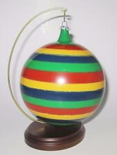 """Italy Glass Christmas Ornament, Hand Painted, Colorful Stripes, 4 3/4"""""""