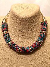 Estado de cuenta oro de varios colores Pechera Cuello Cadena Collar Con Cuentas Grueso Grande Big