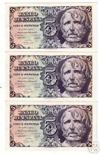 TRIO correlativo Serie A Billete 5 Pesetas 1947 Seneca