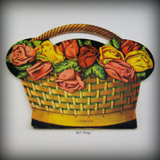 1950s Original Graphic Red and Yellow Roses Basket Sewing Needle Packet Foreign