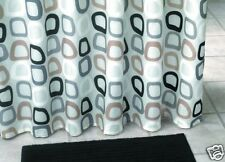 Textile Shower Curtain White Brown Grey Black Circles Dots 180x200 Cm