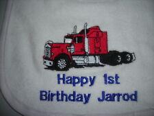 first  birthday big boys trucks baby bibs