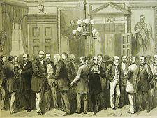 International Rifle Team Members MEET MAYOR WICKHAM NYC 1876 Antique Art Matted