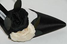 $945 New MANOLO BLAHNIK OPPURETA Flowers Black Cream Satin EVENING SHOES 38 7.5