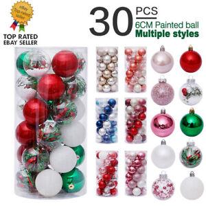 30PCS 6cm Christmas Tree Shatterproof Hanging Balls Ornaments Xmas Decoration