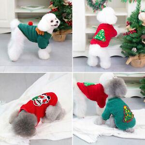 Cute Dogs V.elcro Long Sleeve Christmas Tree Hoodie Sweatshirt Pet Clothes S-XXL