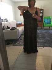 Black Silk over gold Fabric Beaded Formal Gown 18W