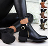 Womens Ladies Ankle Boots Flat Low Heel Chelsea  Buckle Zip Booties Shoes Size